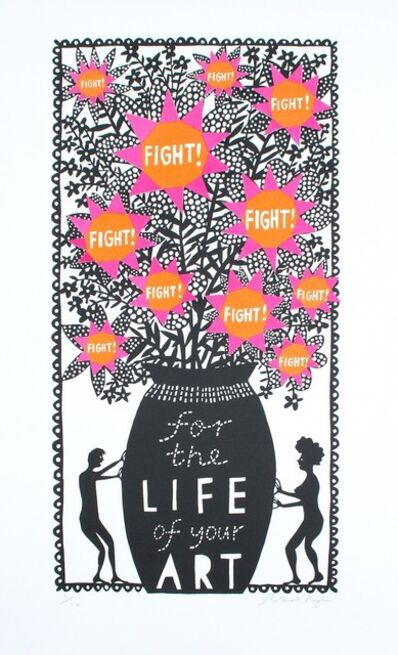 Rob Ryan, 'Fight For The Life of Your Art (Orange and Pink)', 2018