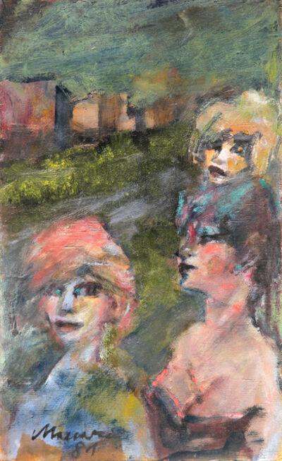 Mino Maccari, 'Paesaggio con figure', 1981