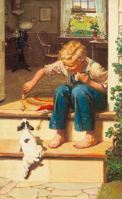 Norman M. Price, 'Boy Feeding Dog a Bone', 1926