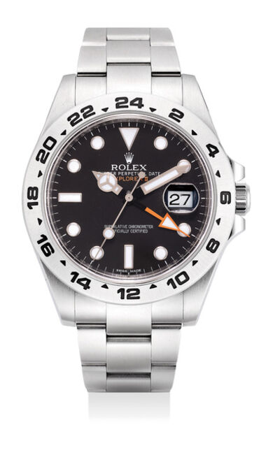 Rolex, 'A rare stainless steel wristwatch with sweep center seconds, 24-hour indication, date, bracelet, guarantee and box', Circa 2010