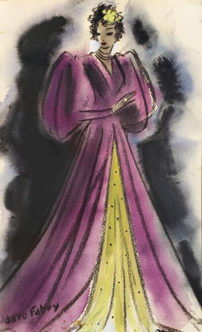 Jaro Fabry, 'Glamorous woman in Elegant Purple Evening Dress ', ca. 1940s