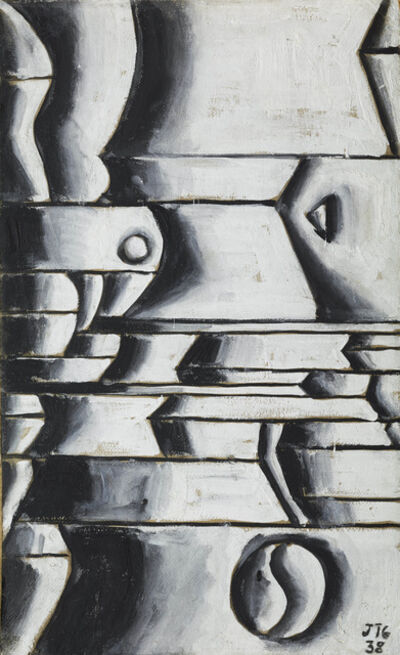 Joaquín Torres-García, 'Estructura en blanco y negro con ritmos curvos y oblicuos (Structure in white and black with curved and oblique rhythms)', 1938
