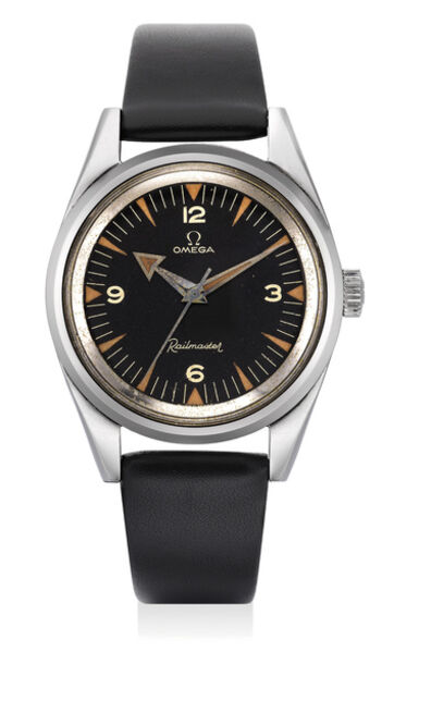 OMEGA, 'A fine and very rare anti-magnetic stainless steel wristwatch with sweep center seconds', 1957