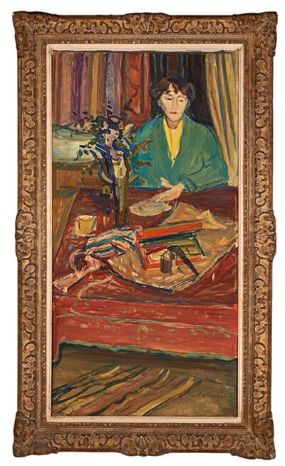 """Émile Sabouraud, '""""La Femme Du Peintre A La Veste Vert Jade""""'"""