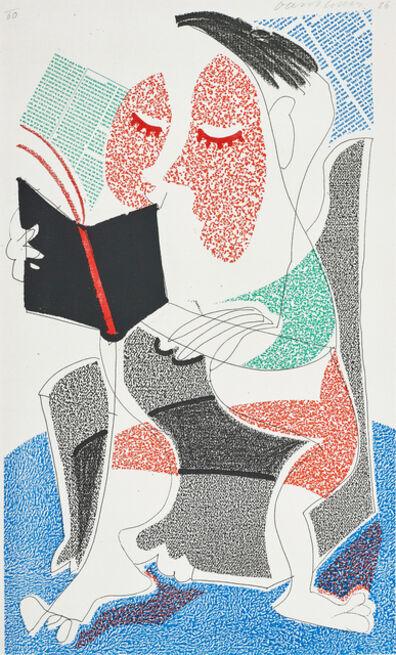 David Hockney, 'Man reading Stendhal', 1986