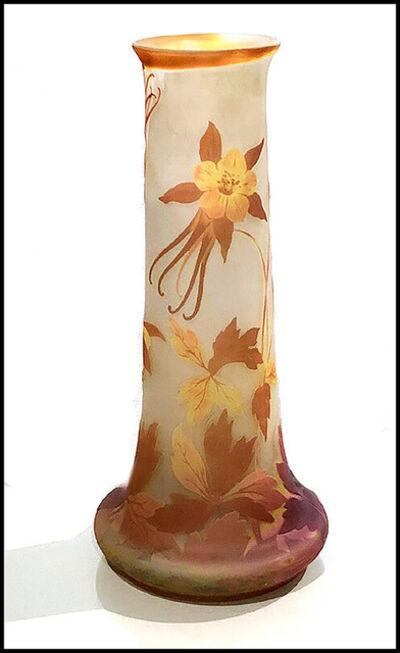 Emile Gallé, 'Multi-Colored Slender Floral Vase', 20th Century