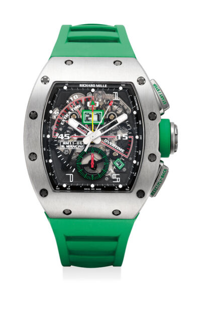 Richard Mille, 'An exceptional and attractive skeletonized titanium fly-back chronograph wristwatch for football timing with annual calendar with date and month indications, tachymeter scale and warranty', Circa 2014