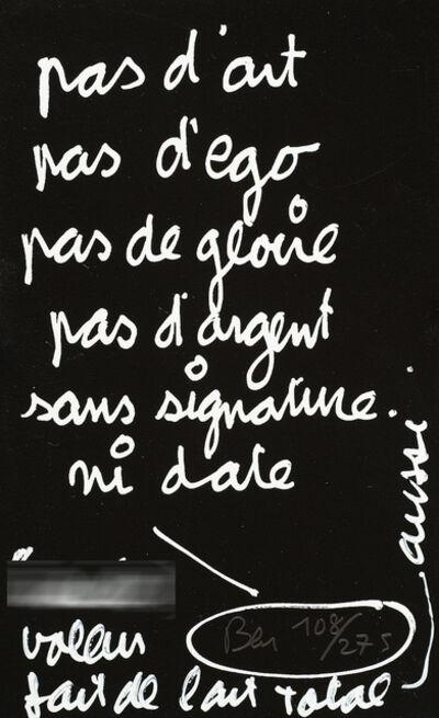 Ben Vautier, 'Manifeste d'art total', 1997