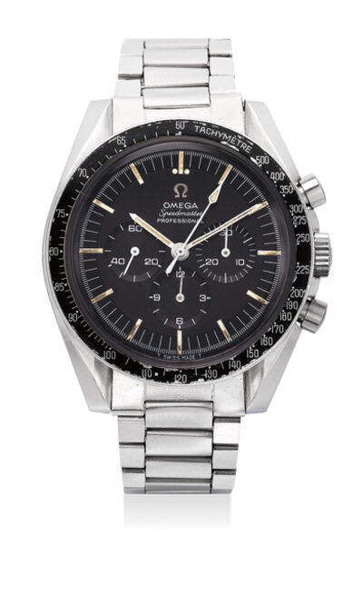 OMEGA, 'A fine and rare stainless steel chronograph wristwatch with tachymeter scale, bracelet, accompanied by letter from the original owner and Navy photographs of the original owner wearing the watch in the late 1960s', 1967
