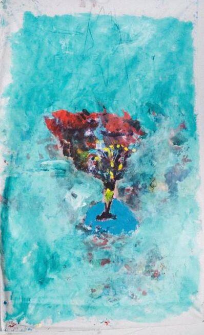 Joel Handorff, 'Large acrylic painting of flowers on fabric: 'Egyptian Blue'', 2018