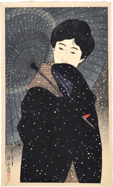 Itō Shinsui, 'Twelve Images of Modern Beauties: Snowy Night', ca. 1923