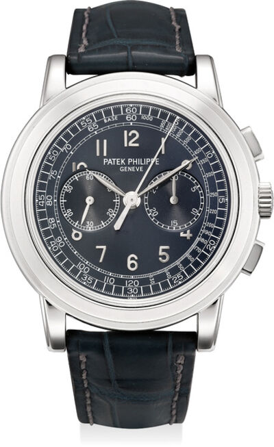 Patek Philippe, 'A very fine and rare platinum chronograph wristwatch with original certificate of origin, paperwork, accessories, and fitted presentation box, factory sealed', 2008