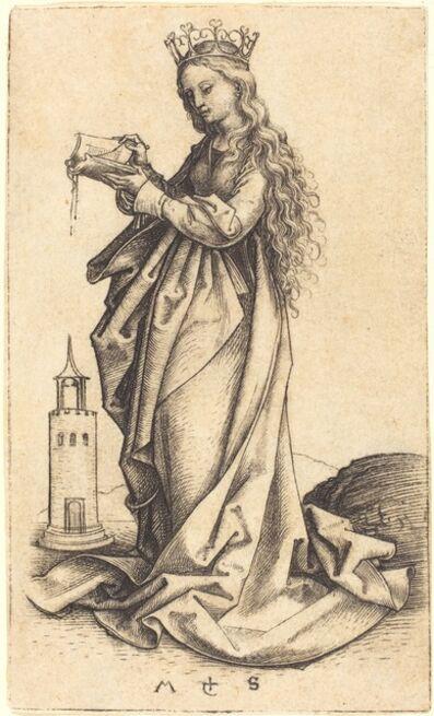 Martin Schongauer, 'Saint Barbara', ca. 1480/1490