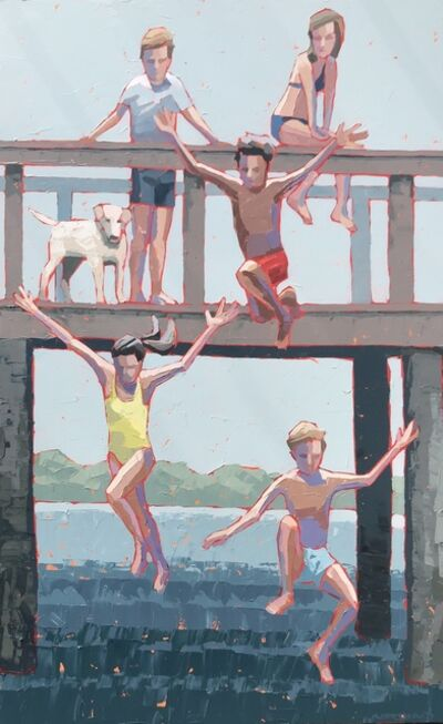 """Paul Norwood, '""""1, 2, 3 Jump"""" impasto painting of kids jumping from bridge into blue water', 2019"""