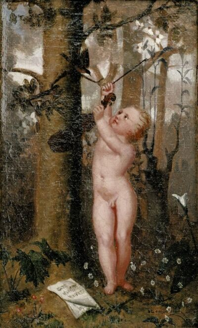 Basile Lemeunier, 'Mozart enfant, génie de la musique, dirige monsieur l'étourneau avec son arc (The Child Mozart, a Spirit of Music, Conducts the Starling with his bow), May 1872. ', 1872