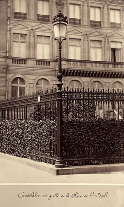 Charles Marville, 'Candelabre sur grille de la Place de l'Étoile (Lamppost on a Fence in the Place de l'Étoile)', 1865-1869