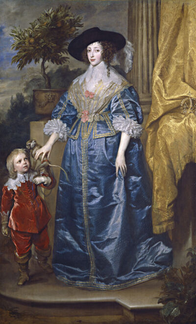 Anthony van Dyck, 'Queen Henrietta Maria with Sir Jeffrey Hudson', 1633