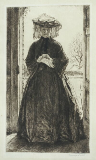 Francis Dodd, 'The Garden Door (portrait of Isabel Dacre in mourning dress)', 1909