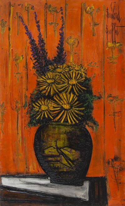 Bernard Buffet, 'Bouquet au vase chinois, fond orange', 1967