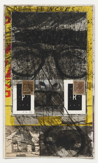 Ray Johnson, 'Untitled (Two brown Italian postage stamps)', 1987
