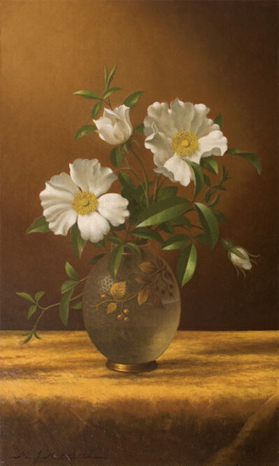 Martin Johnson Heade, 'Cherokee Roses in an Opalescent Vase', ca. 1883-95