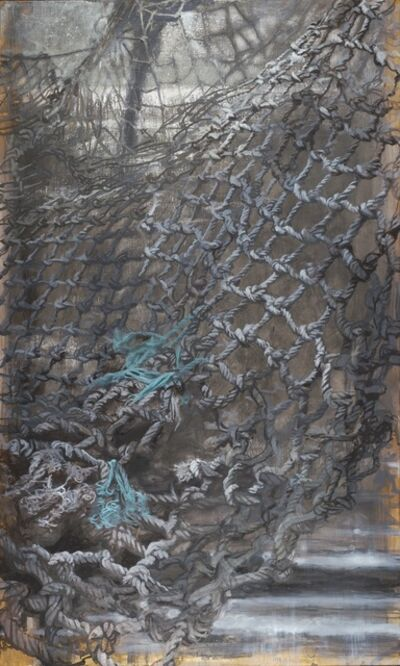 "Carol Bennett, '""365 Days"" black, gray and turquoise mixed media painting of a fishing net', 2019"