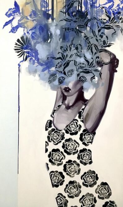 "Anna Kincaide, '""Tempest"" oil painting of a woman in a black and white dress with blue floral bouquet over her head', 2010-2017"