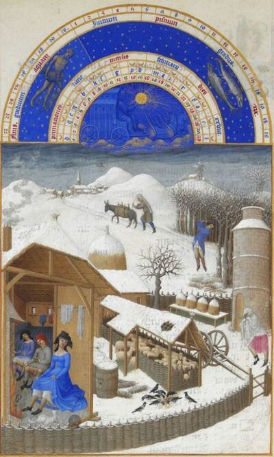 Limbourg Brothers, 'Février, miniature from the Très Riches Heures', 1411-1416