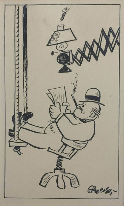 William Gropper, 'Reading the Paper and Construction Scene (a double sided work)', circa 1930