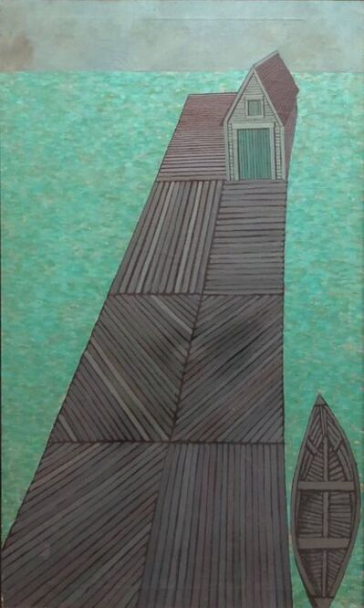 Judith Shahn, 'Modernist Oil Painting Abstract Dock with Boat Judith Shahn', 20th Century