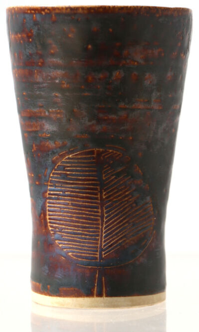 Lucie Rie, 'Early Scraffito Vase with Roman Bathtub Leaf Design'
