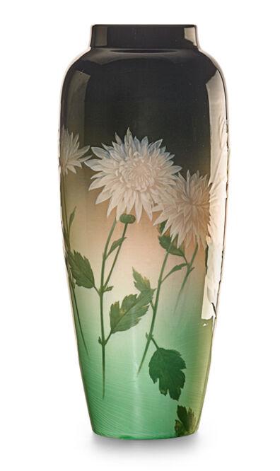 Kataro Shirayamadani, 'Large Iris Glaze vase with chrysanthemums, Cincinnati, OH', 1906 or 07