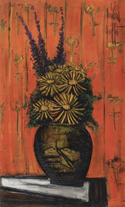 Bernard Buffet, 'Bouquet au vase chinois, fond orange', 1967
