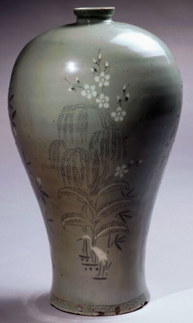 "'Maebyong (""plum vase"") with Crane, Bamboo, Banana and Plum Motif ', late 12th early 13th century"