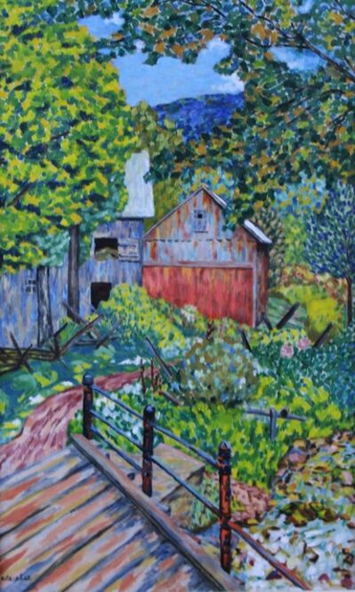 ede-else, 'Barn Scene w/Bridge', Circa 1950