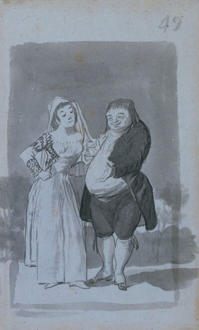 Francisco de Goya, 'Prostitute Soliciting a Fat, Ugly Man (recto)', 1796-1797