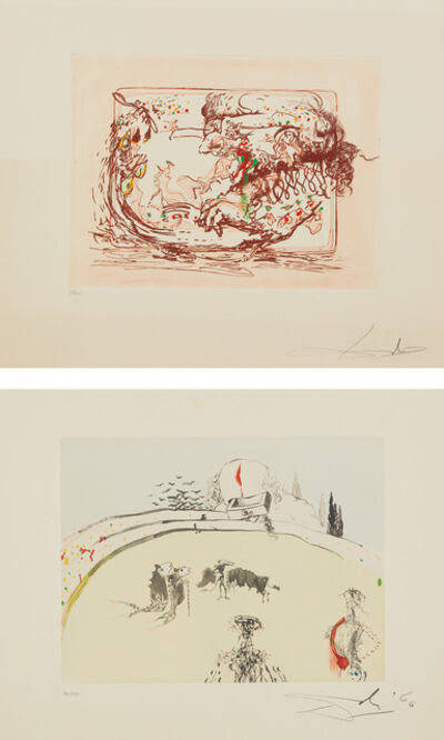 Salvador Dalí, 'La Télévision; and La Tauromachine au tiroir, from Tauromachie surréaliste (Television; and Bullfight in a Drawer, from Surrealistic Bullfight)', 1966-67