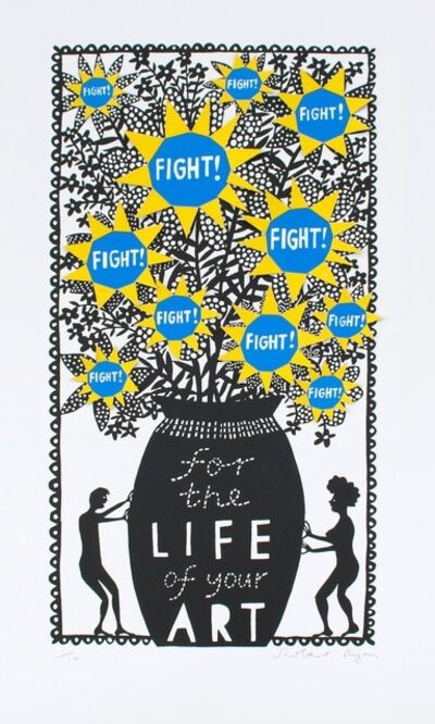 Rob Ryan, 'Fight For The Life of Your Art (Blue and Yellow)', 2018