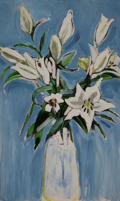 Janet Lance Hughes, 'White Lily on Blue', 2019