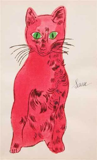 Andy Warhol, '25 Cats Names Sam... (Red with Green Eyes)', 1954