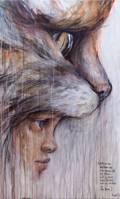 Herakut, 'detain me. declaw me and drown all my kitten. but I have nine lives and my brother is the lion.', 2019