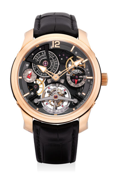 Greubel Forsey, 'An extremely fine and rare limited edition pink gold transparent 30-degree double tourbillon wristwatch with 120-hour running reserve and certificate and box', Circa 2014