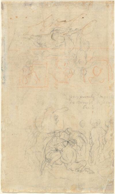 Jacob Jordaens, 'Sheet of Studies with the Drunken Pan and Nymphs [verso]'