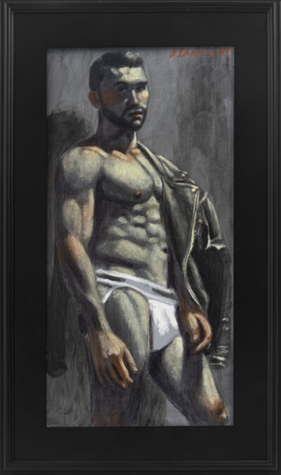Mark Beard, '[Bruce Sargeant (1898-1938)] Christopher Posing with Leather Jacket in White Jockstrap', n.d.
