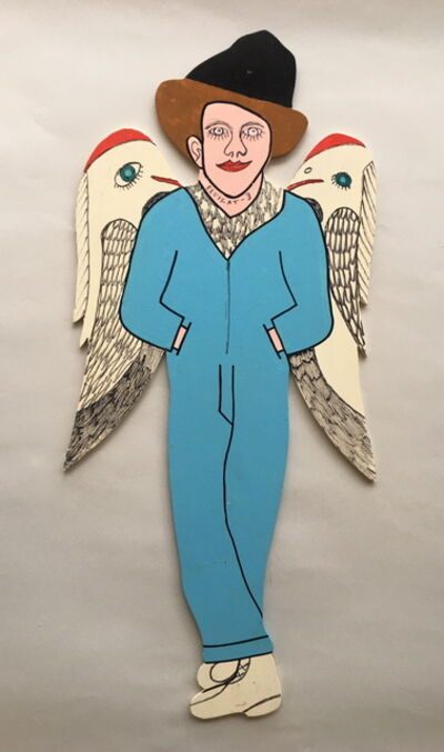 Howard Finster, 'Elvis at 3 - with Birds on Wings', 1990