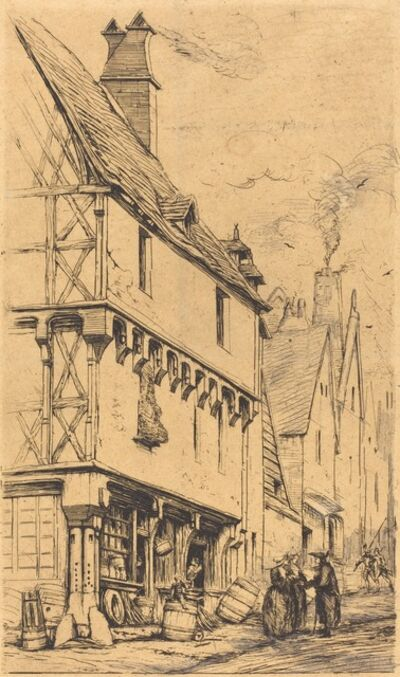 "Charles Meryon, 'Ancienne habitation à Bourges, dite ""La Maison du Musicien"" (An Old House at Bourges, Sometimes Called the ""Musician's House"")', 1860"