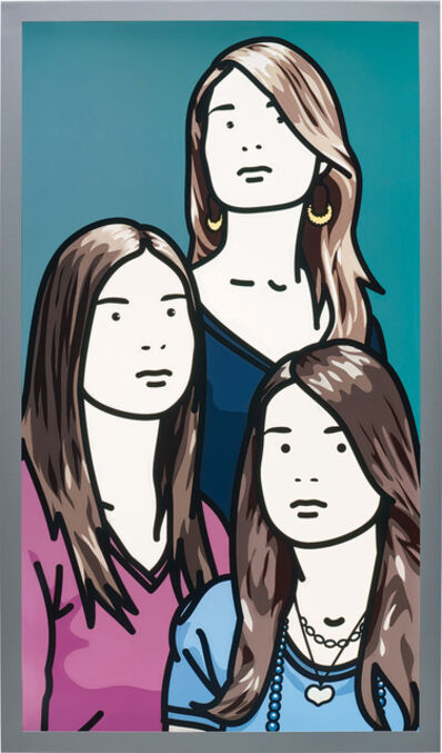Julian Opie, 'Hannah, Lottie and Esther blinking (vertical)', 2006