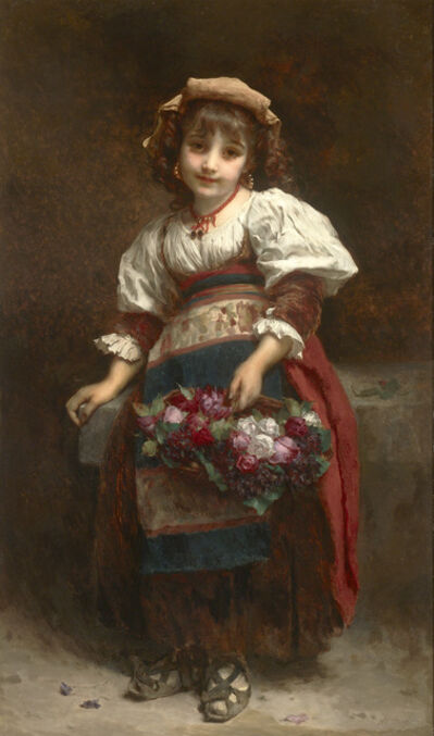 Étienne Adolphe Piot, 'Young Girl with a Basket of Flowers', Late 19th Century