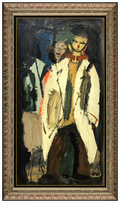 Charles Levier, 'Charles Levier Large Original Oil Painting on Board Signed Portrait Framed Art', 20th Century