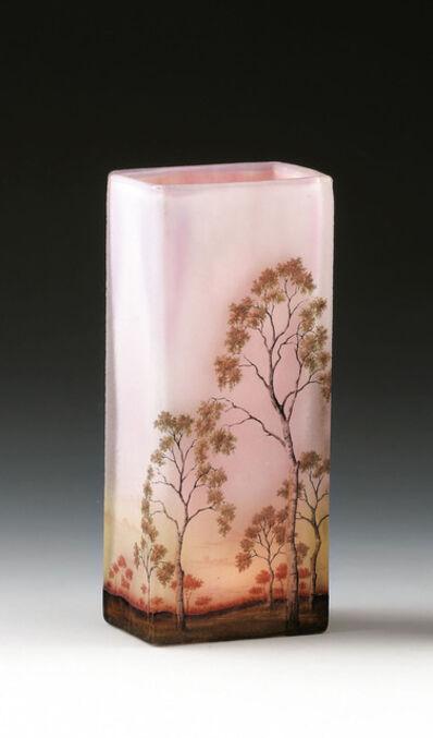 DAUM Nancy, 'Vase with birch trees', 1900